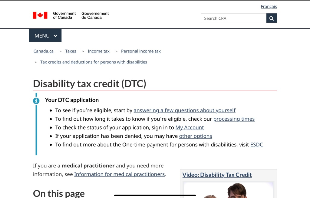 A picture of the Government of Canada's Disability Tax Credit main page.